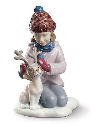 Lladro My Poco Reno Niña Estatuilla De #9130 Marca Punta Navidad Invierno...
