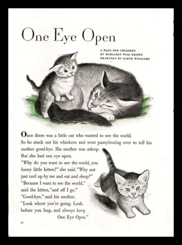 1948 One Eye Open Margaret Wise Brown Vintage PRINT AD Garth Williams Cats Kids