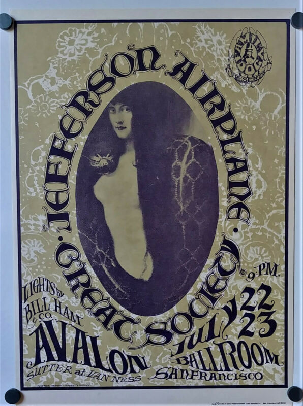 JEFFERSON AIRPLANE SNAKE LADY Avalon Ballroom Original Concert Poster FD 17(3)
