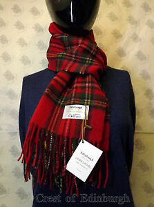 Edinburgh 100% Lambswool Modern Check Stewart Royal Red Tartan Scarf New