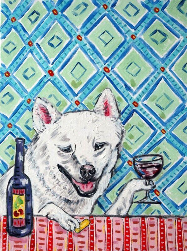 SHIBA INU dog art    gift modern folk  wine     8.5x11 glossy photo print