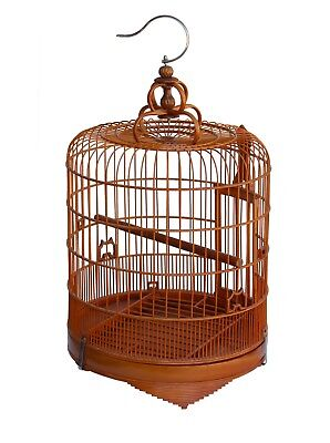 Chinese Oriental Round Shape Bamboo Wood Birdcage Display cs3693