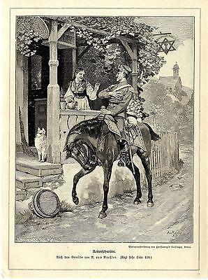 A.von Roeßler ( Reiterschwüre ) Holzstich Graphik von 1897