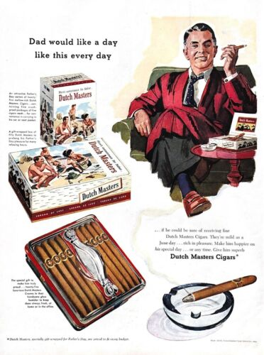1956 Dutch Masters Cigars Vintage Print Ad Dad Would Like A Day Like This