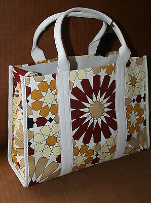 Furla flower power tote bag new brown burnt red tan off white leather straps NEW