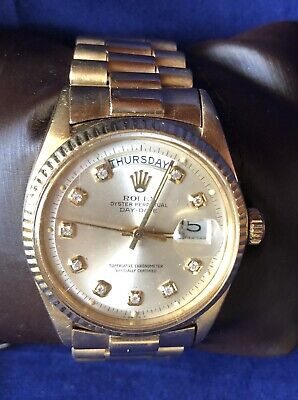 Vintage Rolex President Diamond Oyster Perpetual Day Date 18k Yellow Gold 1803
