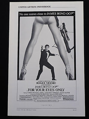 FOR YOUR EYES ONLY 1981 * ROGER MOORE JAMES BOND 007 * MINT UNUSED PRESSBOOK!!