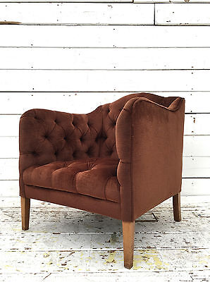 Vintage Mid Century French Salon Chesterfield Chair Library Reading Tub Armchair