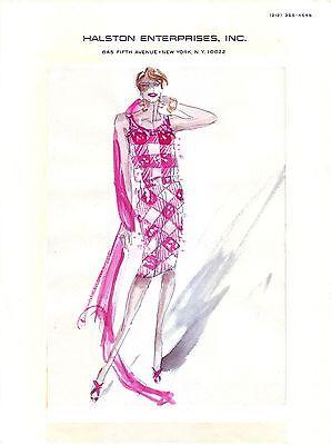 "HALSTON   circa 1983 - 8.5"" x 11"" Original Full Color Fashion Illustration"