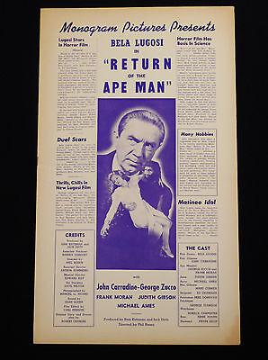 RETURN OF THE APE MAN 1943 * BELA LUGOSI JOHN CARRADINE RARE MONOGRAM PRESSBOOK!