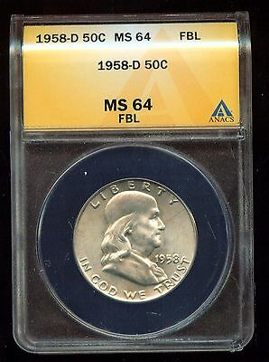 1958 D FRANKLIN HALF DOLLAR ANACS CERTIFIED   MS 64 FBL   3G681
