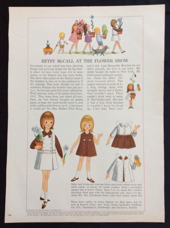 Vintage Betsy McCall Mag. Paper Doll, Betsy McCall at the Flower Show, May 1965
