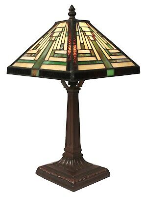 38CM TIFFANY STYLE TABLE LAMP PYRAMID ART DECO GLASS SHADE + LIGHT BULB