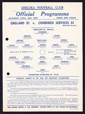ENGLAND v COMBINED SERVICES XI 1944 @ CHELSEA Good Condition Football Programme