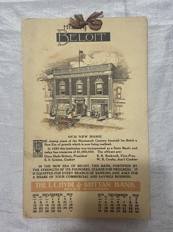 Vintage 1916 Calendar History of Beloit Wisconsin The Hyde & Brittan Bank