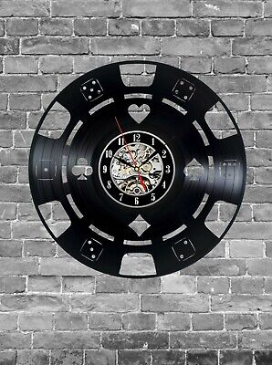 Poker Wall Clock Wood Home Room Kitchen Decor Living Room Gifts Fathers Day Art