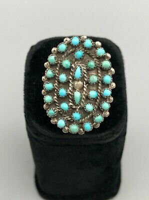 1940s Jewelry Styles and History Gorgeous 1940s Turquoise Cluster Ring $199.00 AT vintagedancer.com