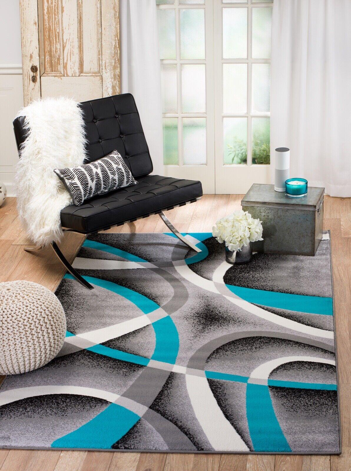 area rug Smt#35 Modern gray blue white soft pile sizes 2x3 3