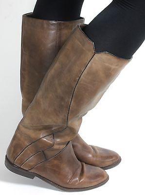 Leder Vintage Stiefel Damenstiefel Reiter Military Blogger Weitschaft Ecco 40