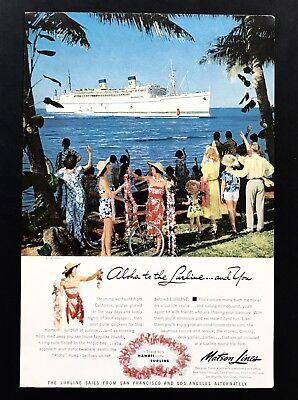 1952 Vintage Print Ad Matson Lines Cruise Ship Ocean Water Image Hawaii Lurline