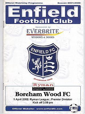 ENFIELD V BOREHAM WOOD  ISTHMIAN LEAGUE   1/4/2002
