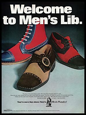 1971 Wolverine World Wide Hush Puppies Shoes Mens Lib 1970s Vintage Print Ad