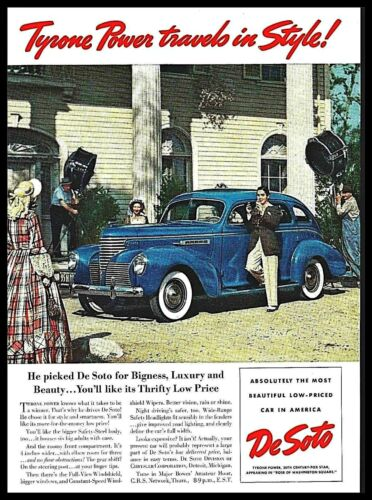 1939 Tyrone Power Automobile Movie Set Blue Car vintage photo Print Ad ads3