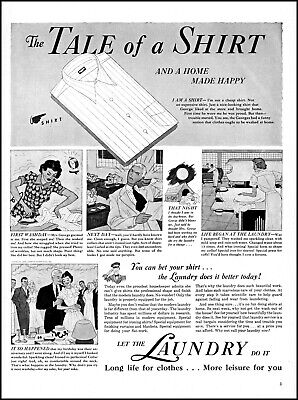 1939 Home Laundry Service Tale of a Shirt Washday vintage art print ad L31