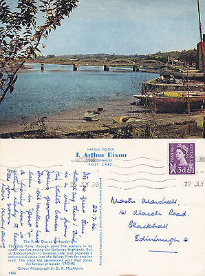 1966 THE RIVER DEE AT KIRKCUDBRIGHT KIRKUDBRIGHTSHIRE SCOTLAND COLOUR POSTCARD