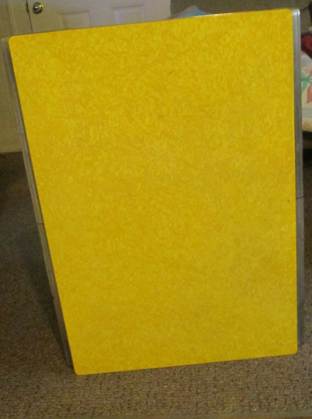 Cracked Yellow Ice Formica Table With Wrought Iron Base Gorgeous - $140.00