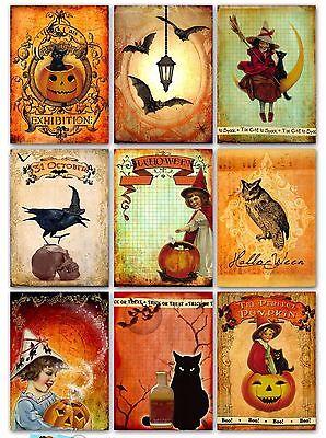 9 Halloween Vintage ATC Cards Hang Tags Scrapbooking Paper Crafts (108) (Halloween Atcs)