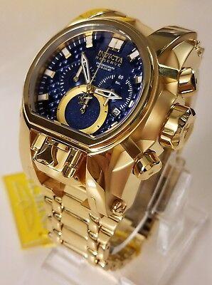Invicta Reserve 18K Gold Plated Bolt Zeus Magnum Dual Swiss Mvmt Watch Blue Dial