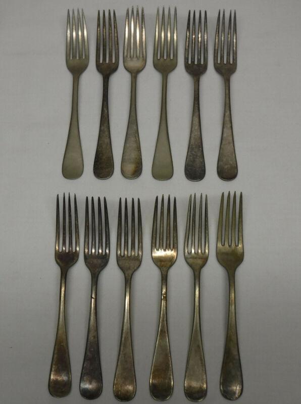 12 pc SILVERPLATED & Nickel Silver FLATWARE Dinner Fork craft lot Windsor Plain