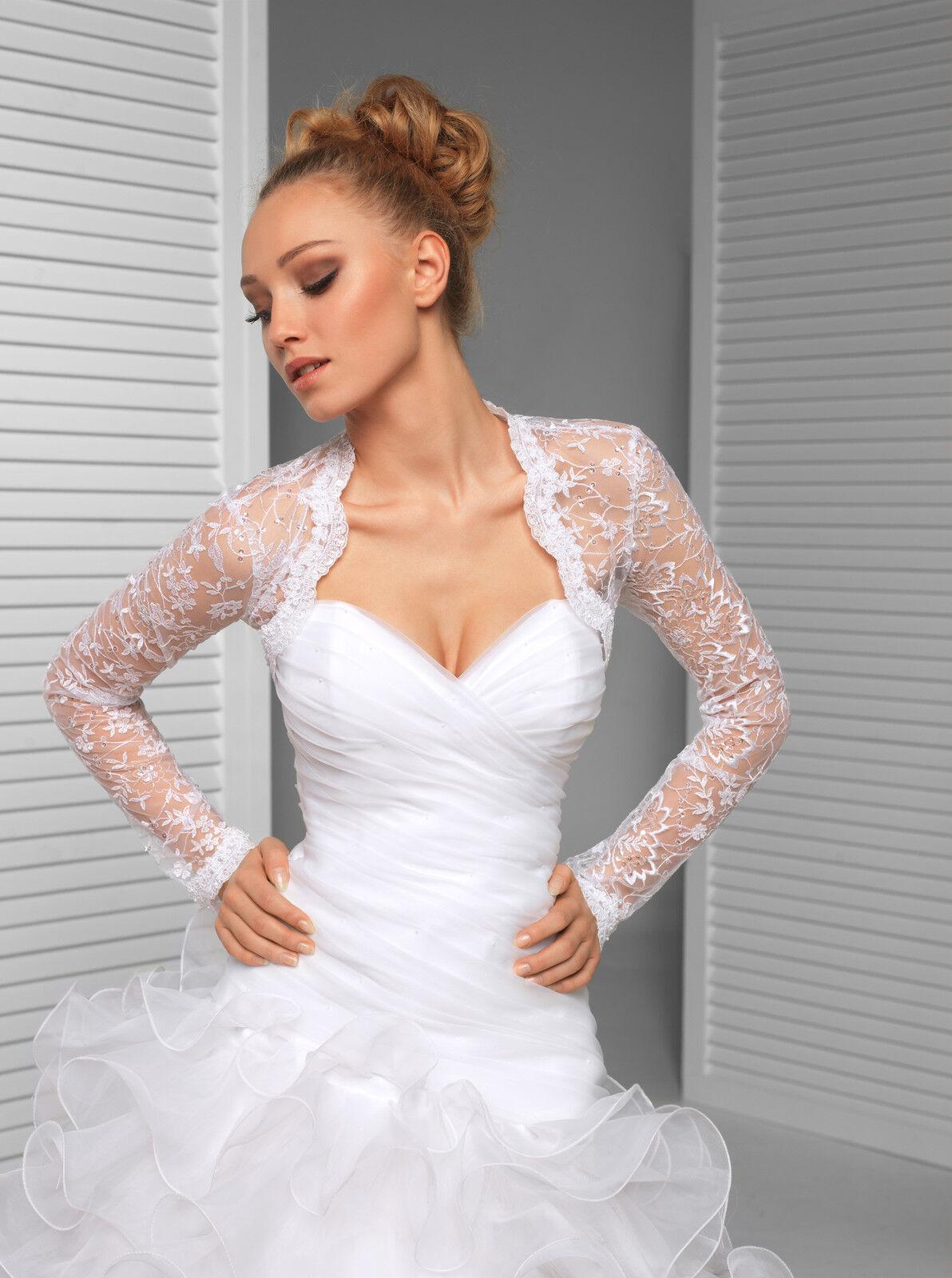 7420359e1c Womens Wedding New Top Bridal Lace Bolero Shrug Jacket Long Sleeve S M L XL  XXL