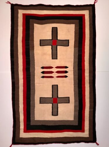 NAVAJO HUBBELL TRADING POST PICTORIAL RUG,2 CROSSES-4 SNAKES-6 BORDERS,EXCELLENT
