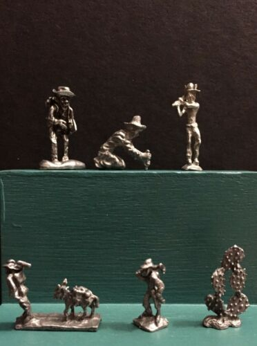 Pewter Western Prospector Gold Panning Mining Tools Pack Mule Miniature Figurine