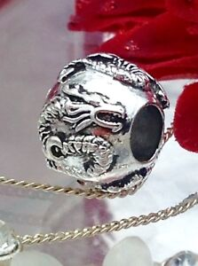 Silver coloured om dragon bead fits Pandora bracelet