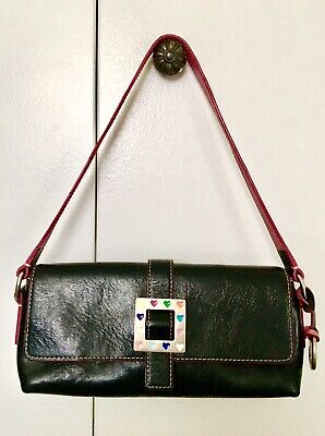 Dooney & Bourke Heart Buckle Black Leather Baguette Handbag Buckle Baguette Handbag