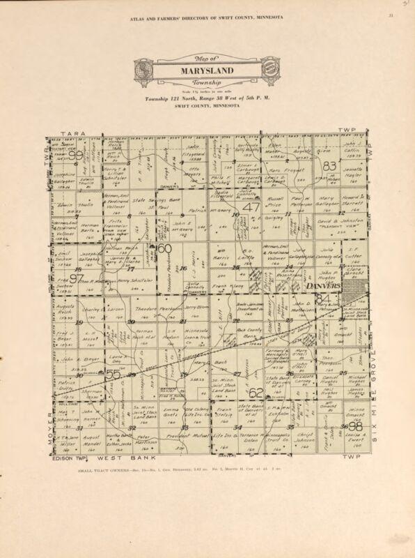 1931 Atlas SWIFT COUNTY plat maps MINNESOTA GENEALOGY history Land DVD P160