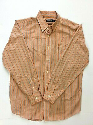 Nautica Classic Fit Wrinkle Resistant Orange Striped Shirt Long Sleeve Button L