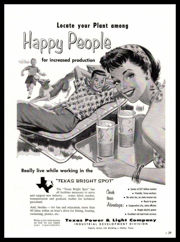 "1958 Texas Power & LIght Company Dallas Texas ""Happy People"" Vintage Print Ad"