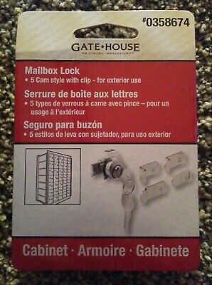 Gate House Mailbox Lock 5 Can Style With Clip - For Exterior Use