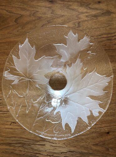 Fabulous Mats Jonasson Signed Art Glass Maple Leaf Bowl. Made in Sweden. LOOK