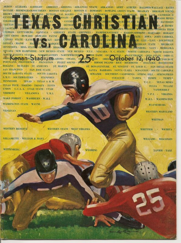 1940 North Carolina-Texas Christian TCU Program Tar Heels Top Frogs!!