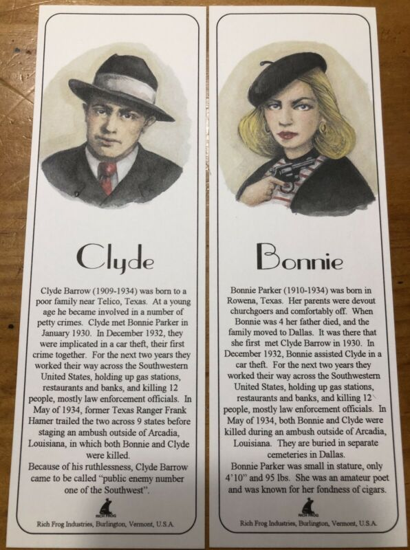 Bonnie & Clyde Book Markers for Books Brand New