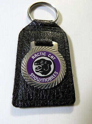 Arctic Cat Snowmobile Keychain, (1) Vintage 1970's Leather Key Chain dk Purple