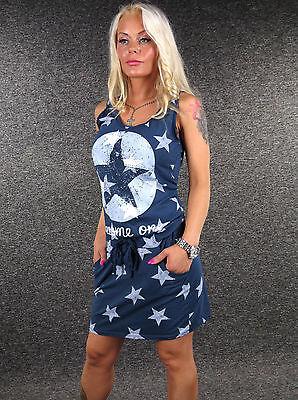Navy Sterne (Zazou Jerseykleid Sterne Navy XS S M L sexy Sommerkleid Kleid Strandkleid 6710)