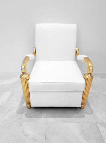 Luxury Arm Chair - Gaston Baroque Arm Chair in White Leather