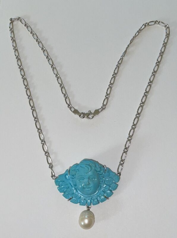 """14K & 18K SOLID WHITE GOLD & CARVED PERSIAN TURQUOISE CAMEO 17 1/2"""" NECKLACE"""