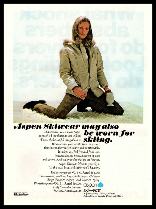 1970 Aspen Skiwear Denver CO Kodel Hideaway Jacket And Pin-Stripe Pants Print Ad